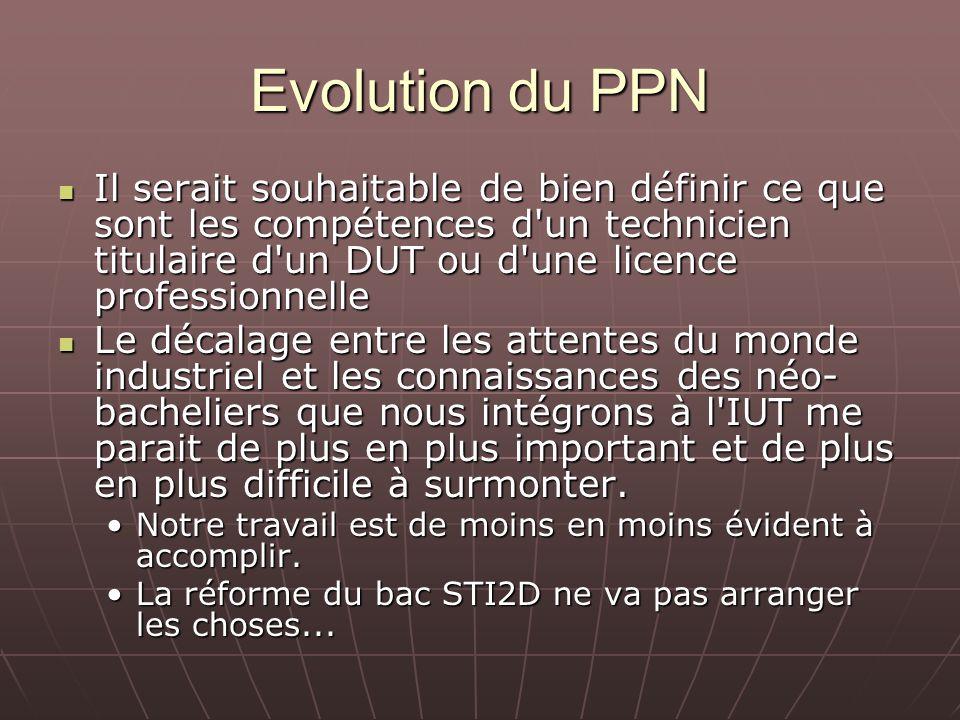 Evolution du PPN Il serait souhaitable de bien définir ce que sont les compétences d'un technicien titulaire d'un DUT ou d'une licence professionnelle