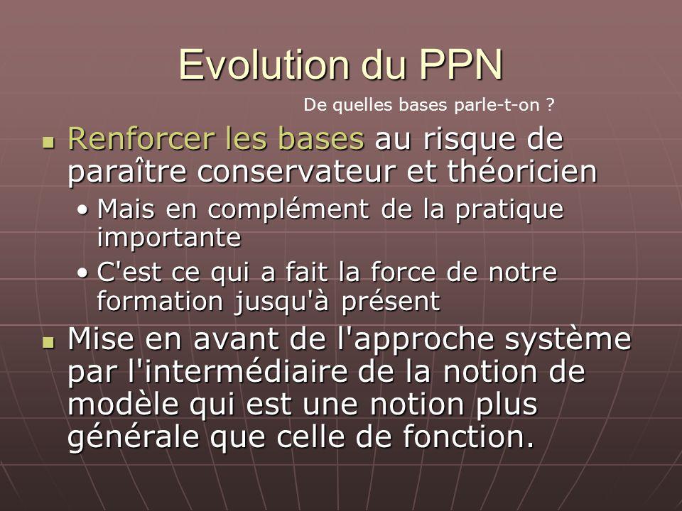 Evolution du PPN Renforcer les bases au risque de paraître conservateur et théoricien Renforcer les bases au risque de paraître conservateur et théori
