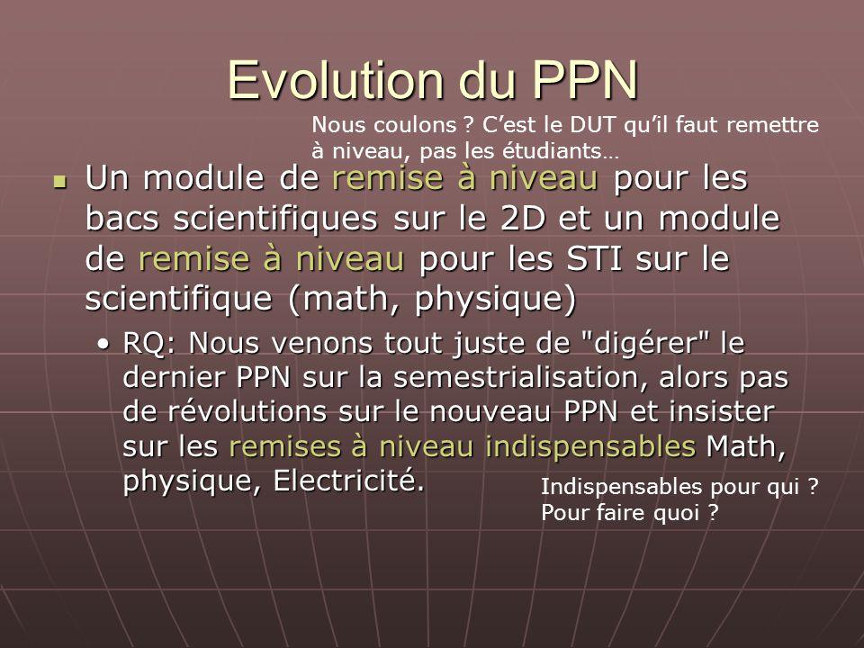Evolution du PPN Un module de remise à niveau pour les bacs scientifiques sur le 2D et un module de remise à niveau pour les STI sur le scientifique (