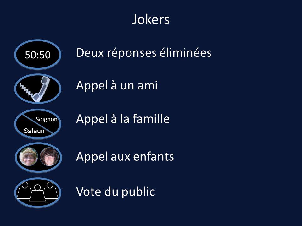 Jokers 50:50 Deux réponses éliminées Appel à un ami Appel à la famille Soignon Salaün Appel aux enfants Vote du public