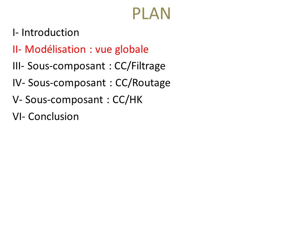 PLAN I- Introduction II- Modélisation : vue globale III- Sous-composant : CC/Filtrage IV- Sous-composant : CC/Routage V- Sous-composant : CC/HK VI- Conclusion