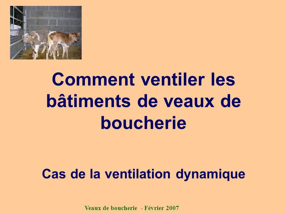 Veaux de boucherie - Février 2007 Comment ventiler les bâtiments de veaux de boucherie Cas de la ventilation dynamique