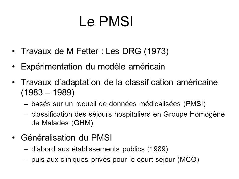 Le PMSI Travaux de M Fetter : Les DRG (1973) Expérimentation du modèle américain Travaux dadaptation de la classification américaine (1983 – 1989) –ba