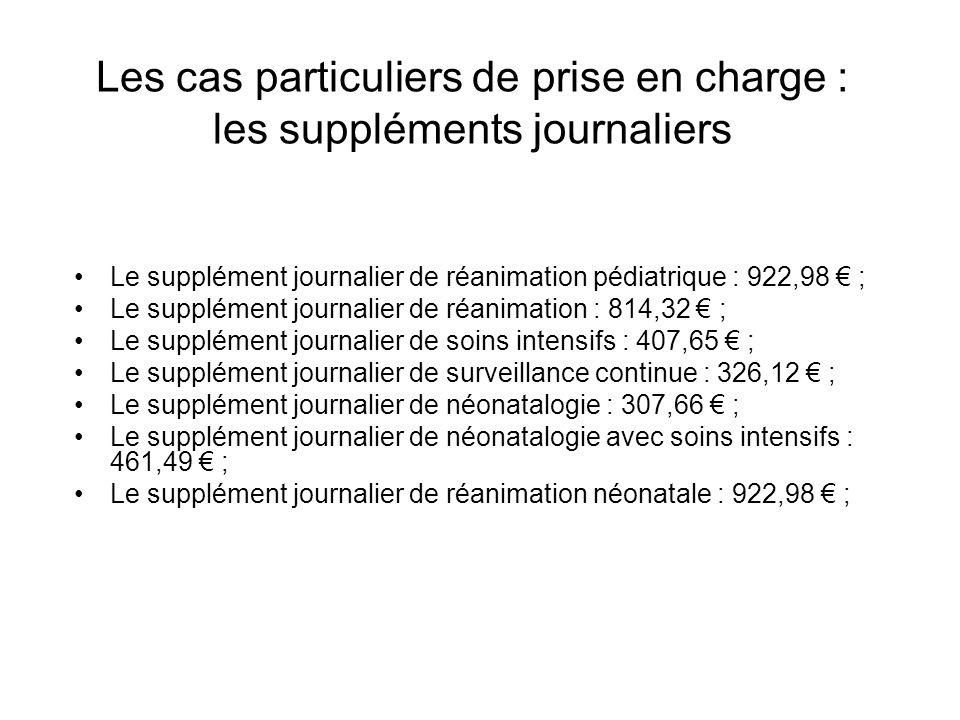 Les cas particuliers de prise en charge : les suppléments journaliers Le supplément journalier de réanimation pédiatrique : 922,98 ; Le supplément jou