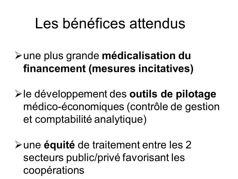 Les bénéfices attendus une plus grande médicalisation du financement (mesures incitatives) le développement des outils de pilotage médico-économiques