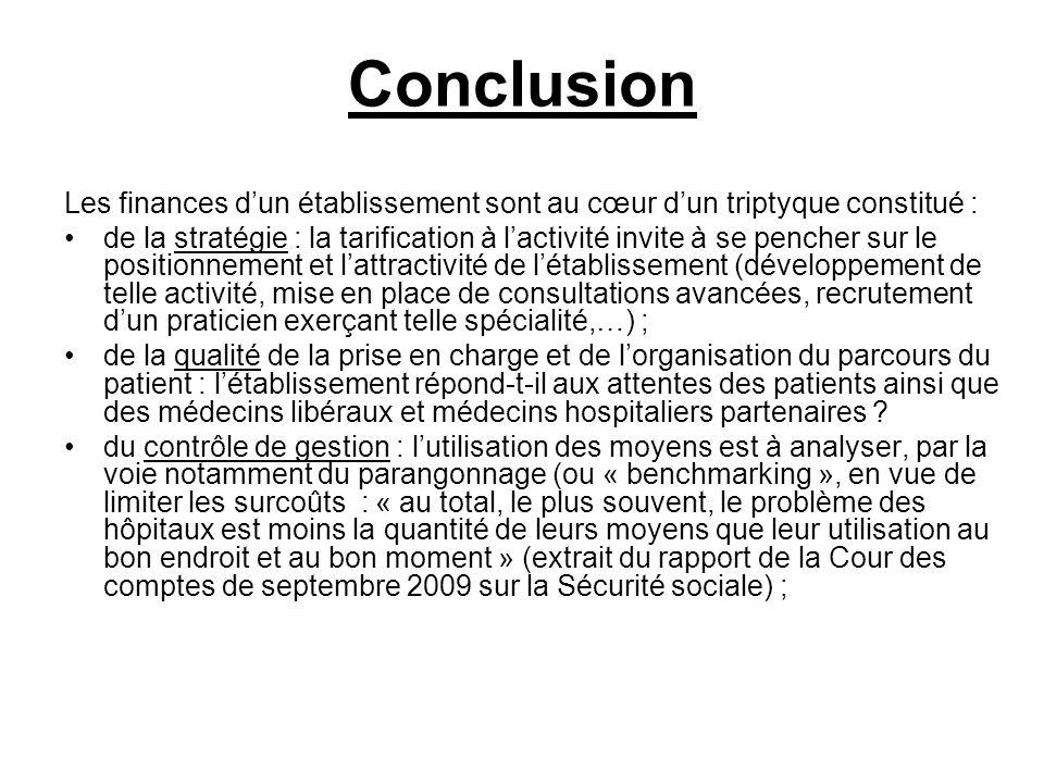 Conclusion Les finances dun établissement sont au cœur dun triptyque constitué : de la stratégie : la tarification à lactivité invite à se pencher sur