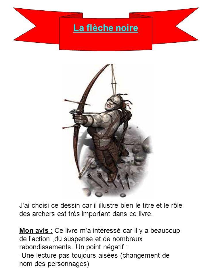 La flèche noire Jai choisi ce dessin car il illustre bien le titre et le rôle des archers est très important dans ce livre. Mon avis : Ce livre ma int
