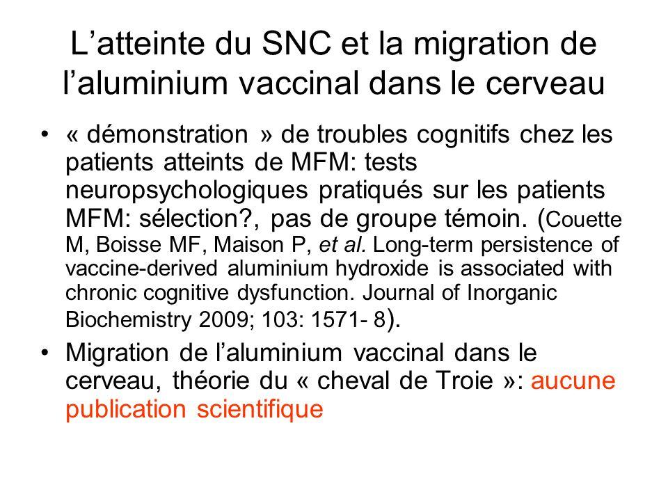 Latteinte du SNC et la migration de laluminium vaccinal dans le cerveau « démonstration » de troubles cognitifs chez les patients atteints de MFM: tests neuropsychologiques pratiqués sur les patients MFM: sélection?, pas de groupe témoin.