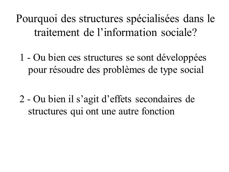 Pourquoi des structures spécialisées dans le traitement de linformation sociale? 1 - Ou bien ces structures se sont développées pour résoudre des prob