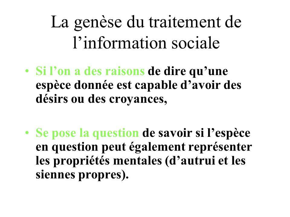 La genèse du traitement de linformation sociale Si lon a des raisons de dire quune espèce donnée est capable davoir des désirs ou des croyances, Se po