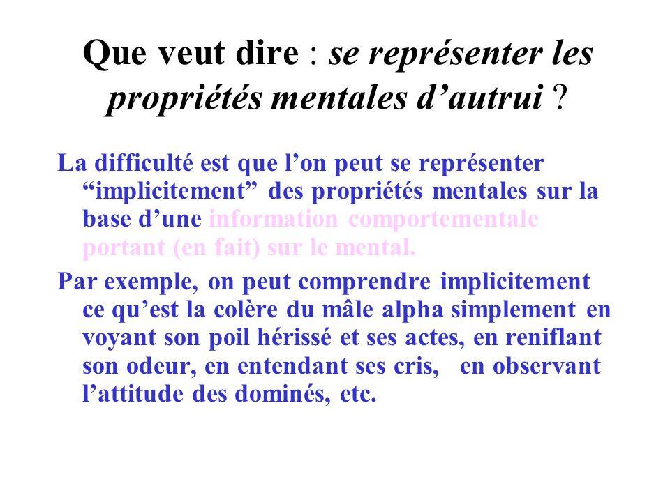 Que veut dire : se représenter les propriétés mentales dautrui ? La difficulté est que lon peut se représenter implicitement des propriétés mentales s