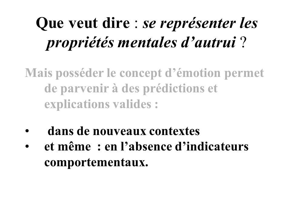 Que veut dire : se représenter les propriétés mentales dautrui ? Mais posséder le concept démotion permet de parvenir à des prédictions et explication