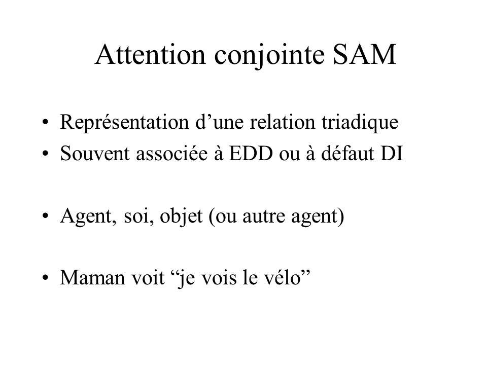 Attention conjointe SAM Représentation dune relation triadique Souvent associée à EDD ou à défaut DI Agent, soi, objet (ou autre agent) Maman voit je