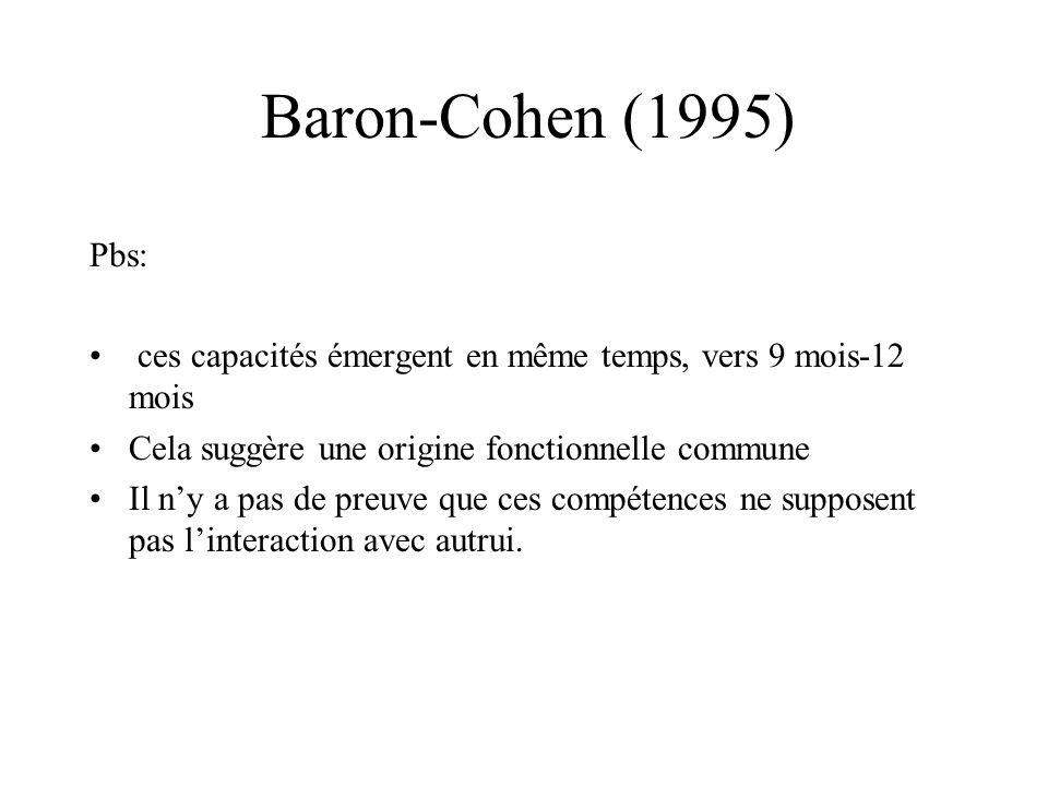 Baron-Cohen (1995) Pbs: ces capacités émergent en même temps, vers 9 mois-12 mois Cela suggère une origine fonctionnelle commune Il ny a pas de preuve