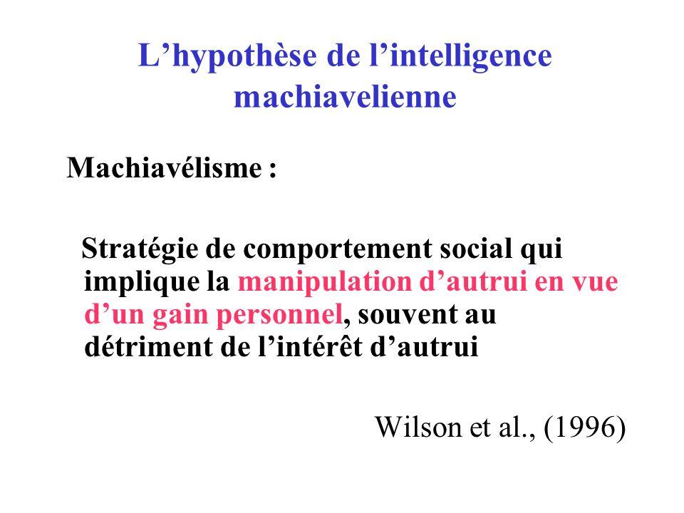 Plusieurs types de théories machiaveliennes : Lhypothèse machiavellienne peut être comprise comme –Théorie sur lorigine sociale de lintelligence: Dunbar (1993), Donald (1991) –Biais social de lintelligence (domain specific): Humphrey (1976),Cheney & Seyfarth (1988) –Caractère modulaire de lintelligence sociale (Cosmides, 1989)