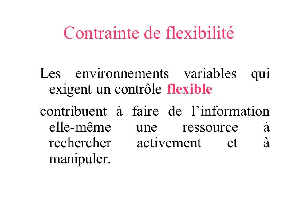 Contrainte de flexibilité Les environnements variables qui exigent un contrôle flexible contribuent à faire de linformation elle-même une ressource à