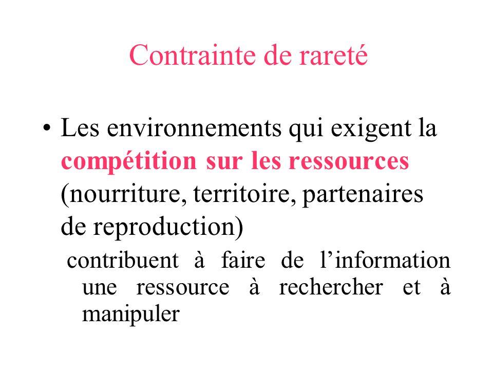 Contrainte de rareté Les environnements qui exigent la compétition sur les ressources (nourriture, territoire, partenaires de reproduction) contribuen