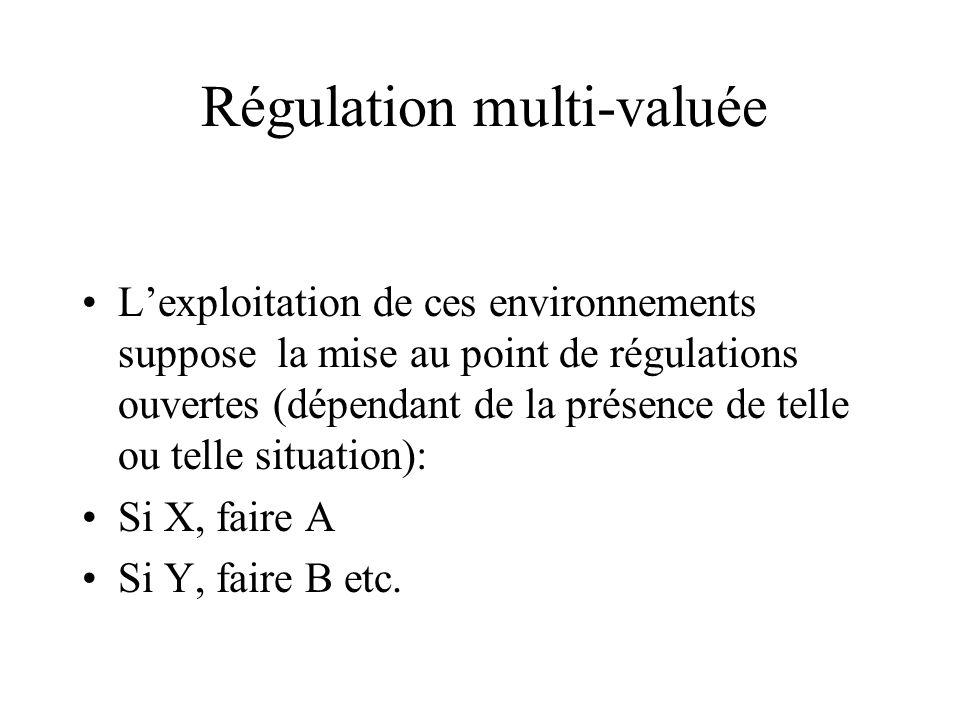 Régulation multi-valuée Lexploitation de ces environnements suppose la mise au point de régulations ouvertes (dépendant de la présence de telle ou tel