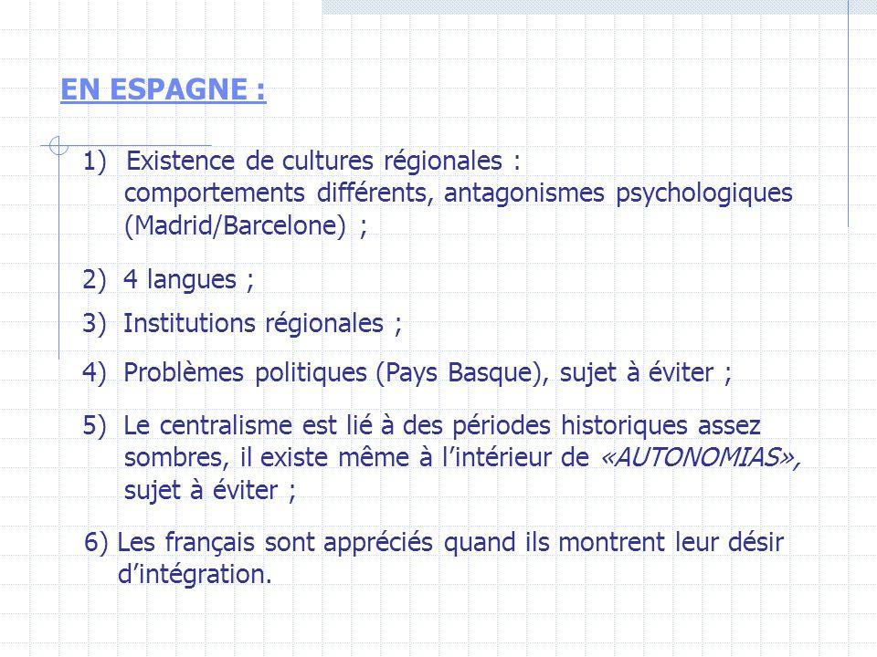 EN ESPAGNE : 1)Existence de cultures régionales : comportements différents, antagonismes psychologiques (Madrid/Barcelone) ; 2) 4 langues ; 3) Institu