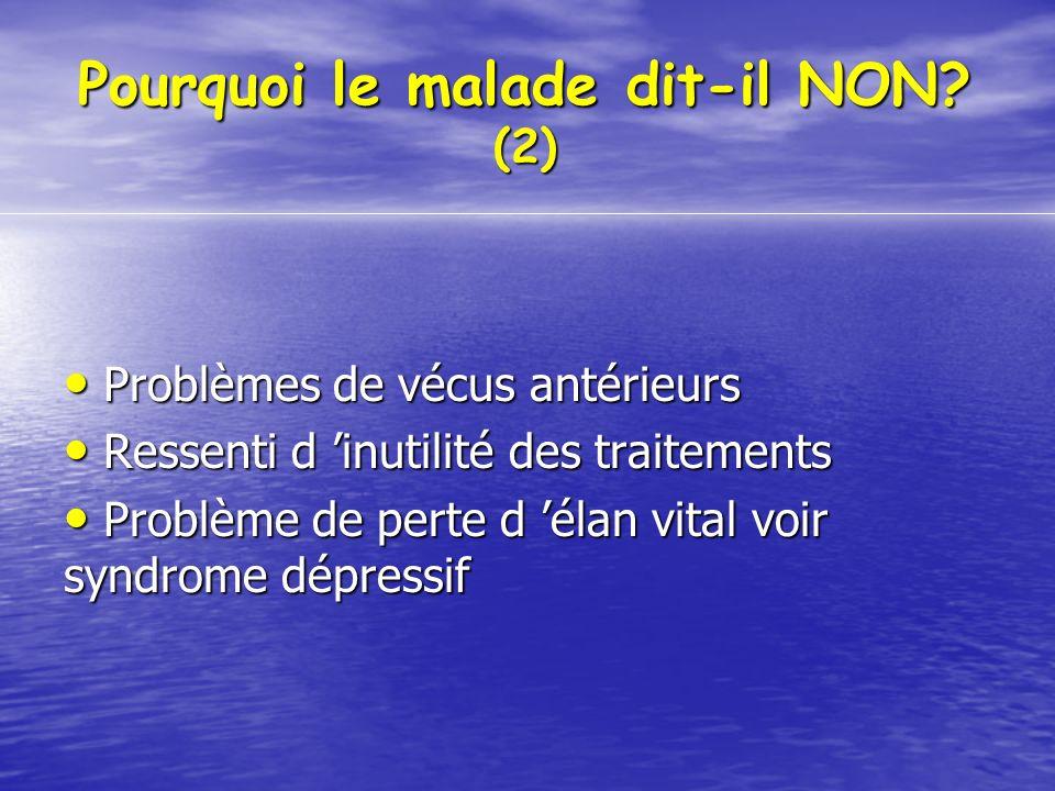 Pourquoi le malade dit-il NON? (2) Problèmes de vécus antérieurs Problèmes de vécus antérieurs Ressenti d inutilité des traitements Ressenti d inutili