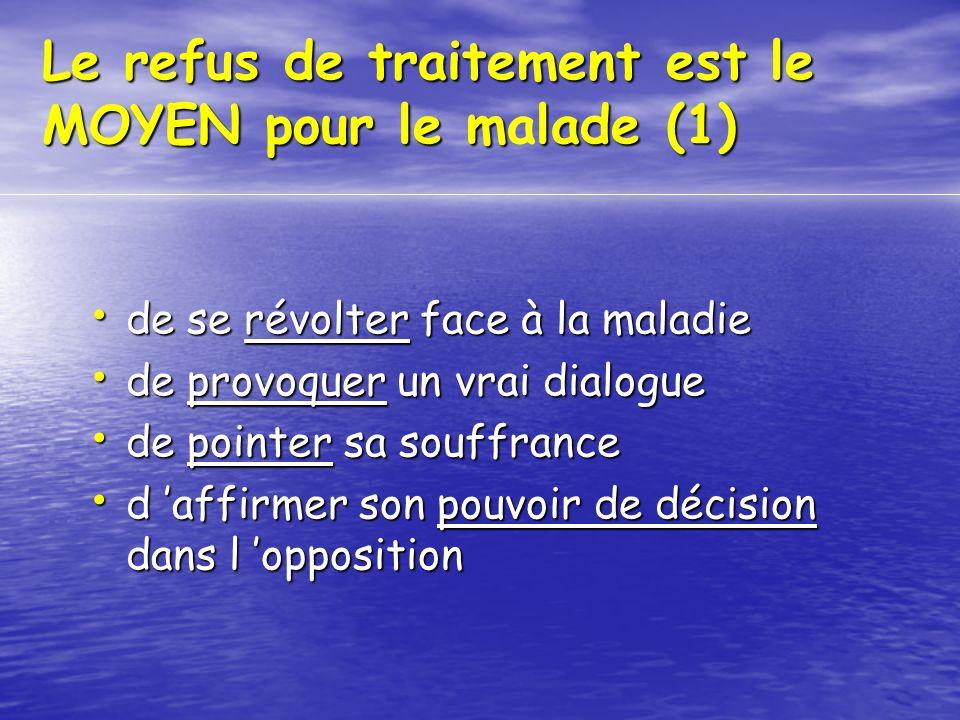Le refus de traitement est le MOYEN pour le mlade (1) Le refus de traitement est le MOYEN pour le malade (1) de se révolter face à la maladie de se ré