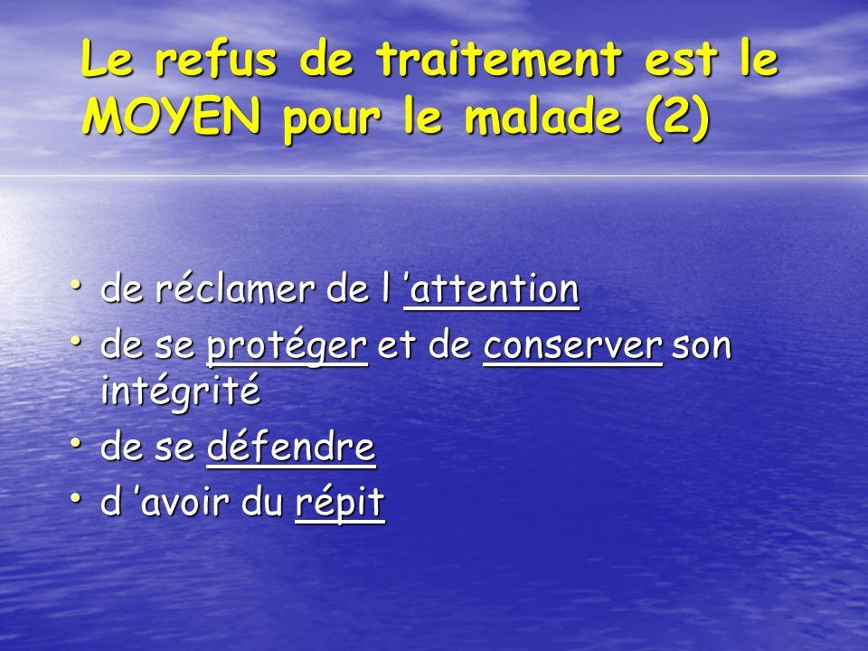Le refus de traitement est le MOYEN pour le malade (2) de réclamer de l attention de réclamer de l attention de se protéger et de conserver son intégr
