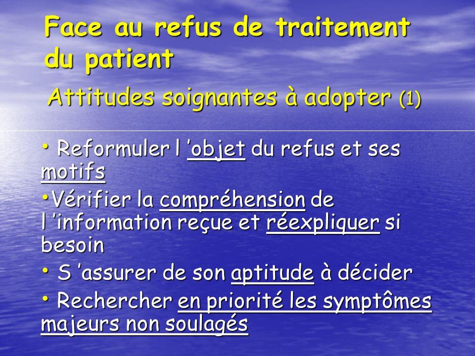 Face au refus de traitement du patient Reformuler l objet du refus et ses motifs Reformuler l objet du refus et ses motifs Vérifier la compréhension d