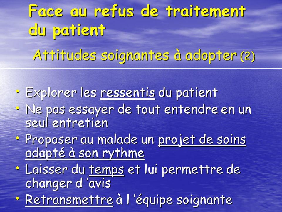 Face au refus de traitement du patient Explorer les ressentis du patient Explorer les ressentis du patient Ne pas essayer de tout entendre en un seul