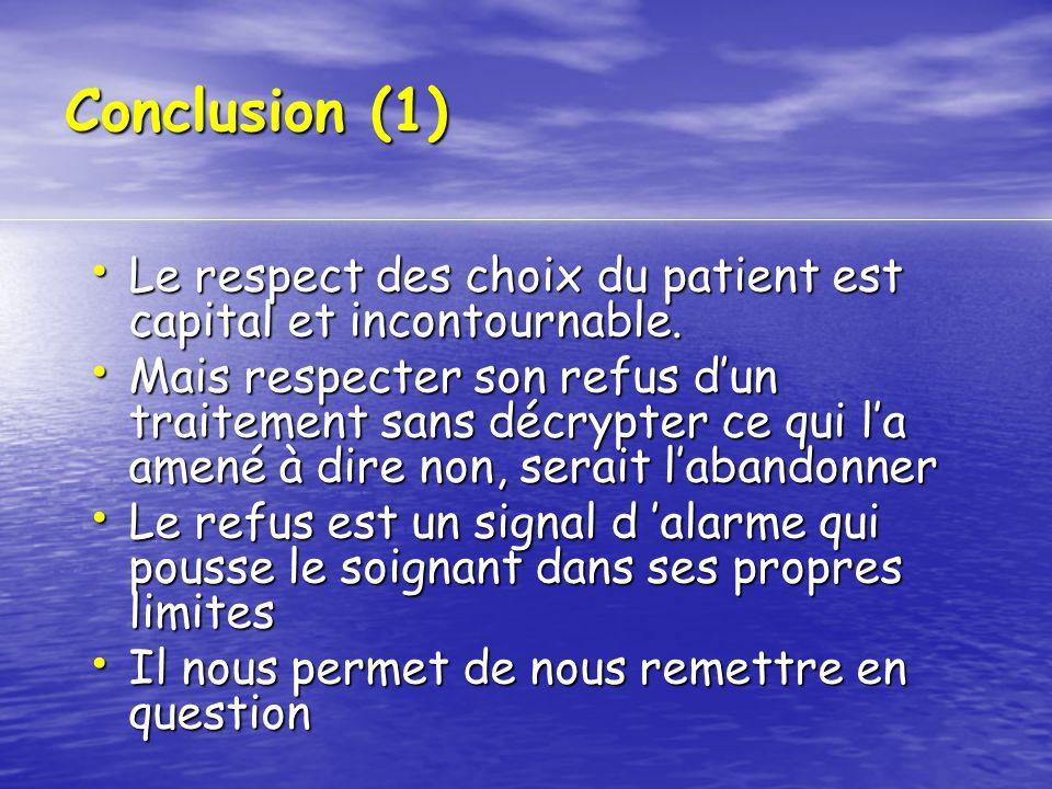 Conclusion (1) Le respect des choix du patient est capital et incontournable. Le respect des choix du patient est capital et incontournable. Mais resp