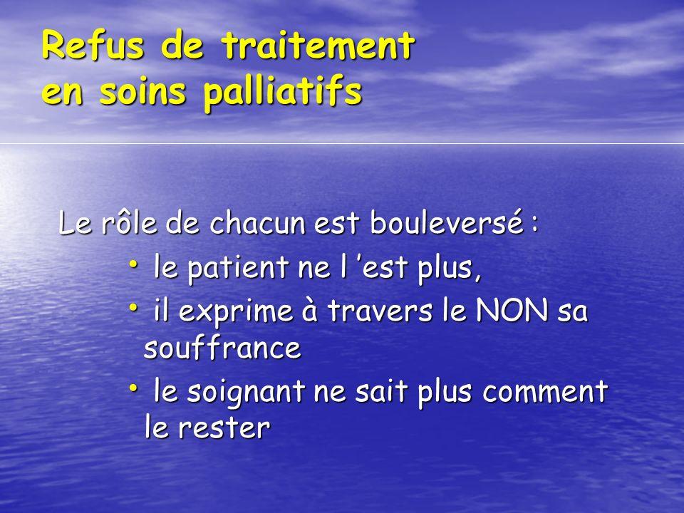 Refus de traitement en soins palliatifs Le rôle de chacun est bouleversé : le patient ne l est plus, le patient ne l est plus, il exprime à travers le