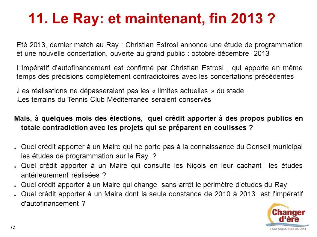 11. Le Ray: et maintenant, fin 2013 ? Eté 2013, dernier match au Ray : Christian Estrosi annonce une étude de programmation et une nouvelle concertati