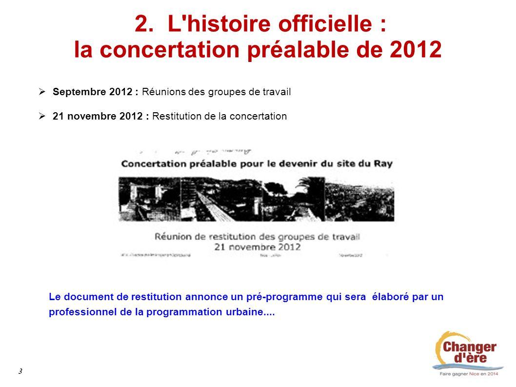 2. L'histoire officielle : la concertation préalable de 2012 Septembre 2012 : Réunions des groupes de travail 21 novembre 2012 : Restitution de la con