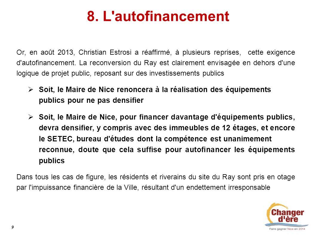 8. L'autofinancement Or, en août 2013, Christian Estrosi a réaffirmé, à plusieurs reprises, cette exigence d'autofinancement. La reconversion du Ray e