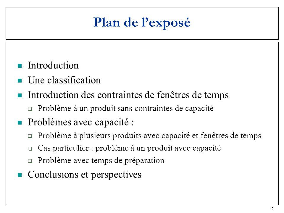 2 Plan de lexposé Introduction Une classification Introduction des contraintes de fenêtres de temps Problème à un produit sans contraintes de capacité