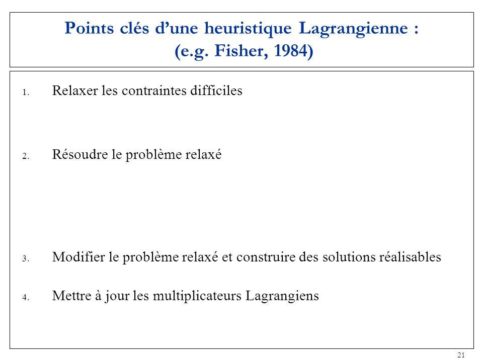 21 Points clés dune heuristique Lagrangienne : (e.g. Fisher, 1984) 1. Relaxer les contraintes difficiles Contraintes de capacité +/- contraintes de fe