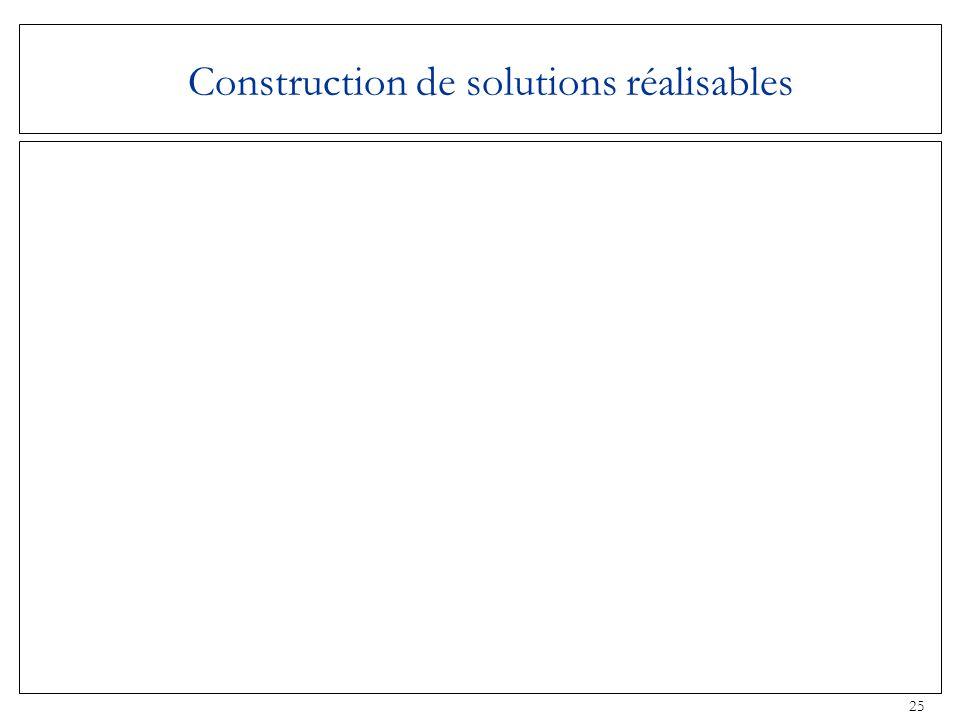 25 Construction de solutions réalisables
