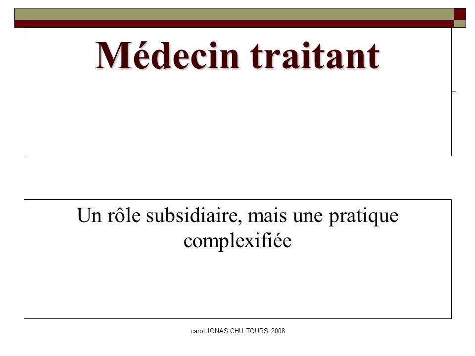 carol JONAS CHU TOURS 2008 Médecin traitant Un rôle subsidiaire, mais une pratique complexifiée