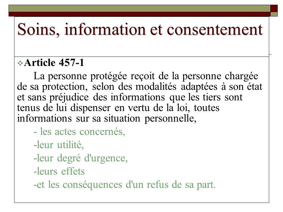 carol JONAS CHU TOURS 2008 Soins, information et consentement Article 457-1 La personne protégée reçoit de la personne chargée de sa protection, selon