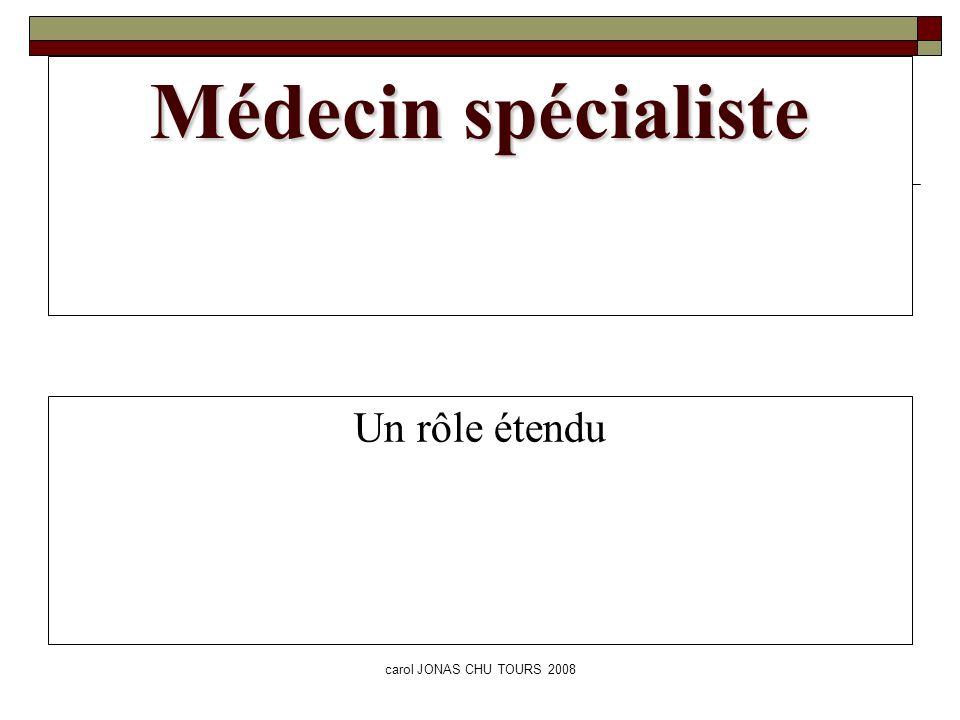 carol JONAS CHU TOURS 2008 Médecin spécialiste Un rôle étendu