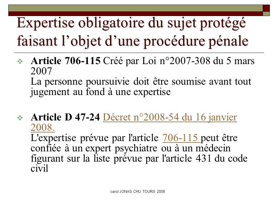 carol JONAS CHU TOURS 2008 Article 431-1 du code civil Pour l application du dernier alinéa de l article 426 et de l article 431, le médecin inscrit sur la liste mentionnée à l article 431 peut solliciter l avis du médecin traitant de la personne qu il y a lieu de protéger.