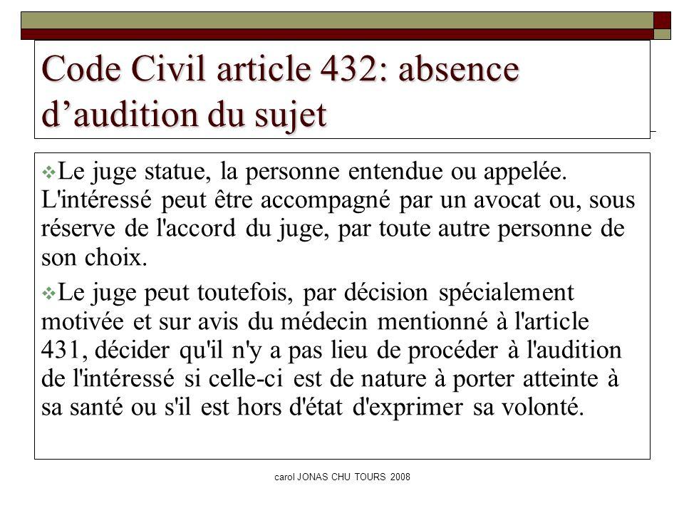 carol JONAS CHU TOURS 2008 Code Civil article 432: absence daudition du sujet Le juge statue, la personne entendue ou appelée. L'intéressé peut être a