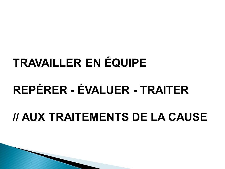 PRENDRE EN CHARGE UNE DOULEUR TRAVAILLER EN ÉQUIPE REPÉRER - ÉVALUER - TRAITER // AUX TRAITEMENTS DE LA CAUSE