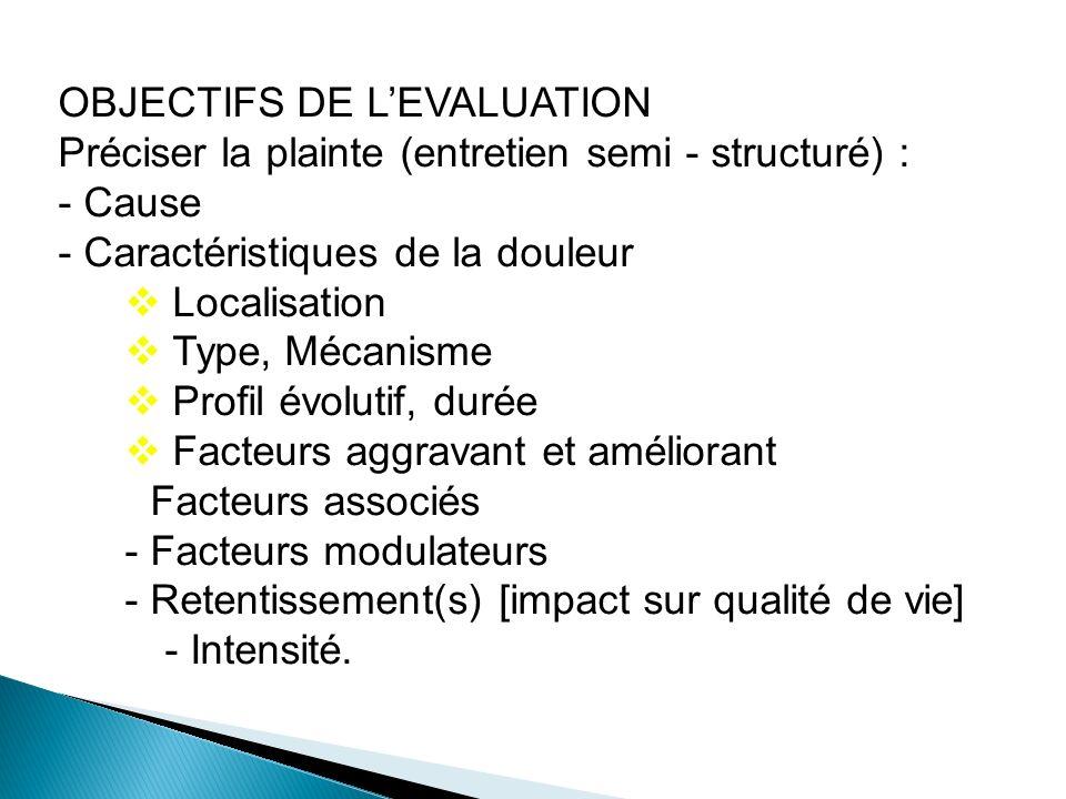 OBJECTIFS DE LEVALUATION Préciser la plainte (entretien semi - structuré) : - Cause - Caractéristiques de la douleur Localisation Type, Mécanisme Prof