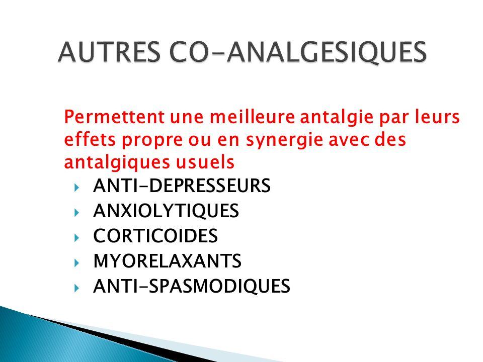 ANTI-DEPRESSEURS ANXIOLYTIQUES CORTICOIDES MYORELAXANTS ANTI-SPASMODIQUES Permettent une meilleure antalgie par leurs effets propre ou en synergie ave