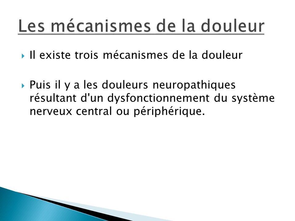 Il existe trois mécanismes de la douleur Puis il y a les douleurs neuropathiques résultant d'un dysfonctionnement du système nerveux central ou périph