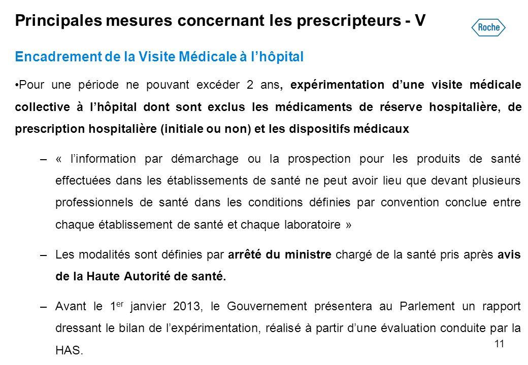 Principales mesures concernant les prescripteurs - V Encadrement de la Visite Médicale à lhôpital Pour une période ne pouvant excéder 2 ans, expérimen
