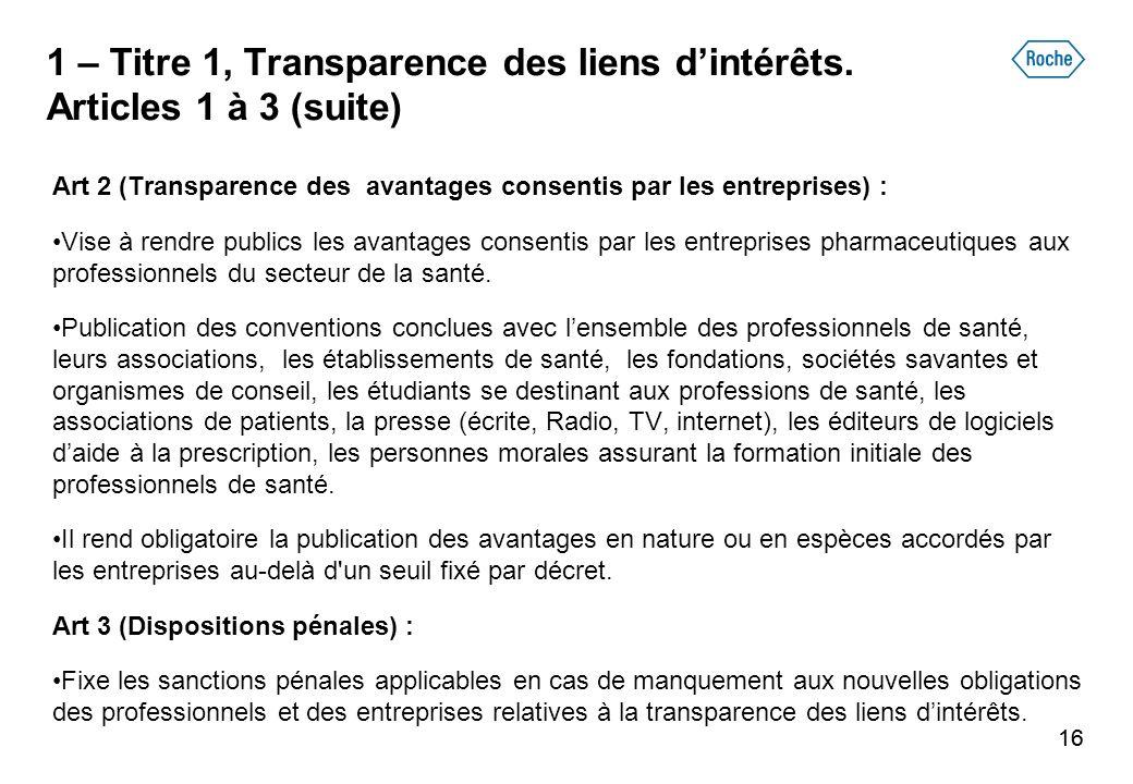 16 1 – Titre 1, Transparence des liens dintérêts. Articles 1 à 3 (suite) Art 2 (Transparence des avantages consentis par les entreprises) : Vise à ren