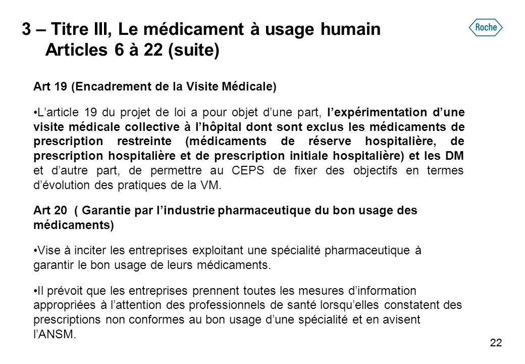 22 3 – Titre III, Le médicament à usage humain Articles 6 à 22 (suite) Art 19 (Encadrement de la Visite Médicale) Larticle 19 du projet de loi a pour