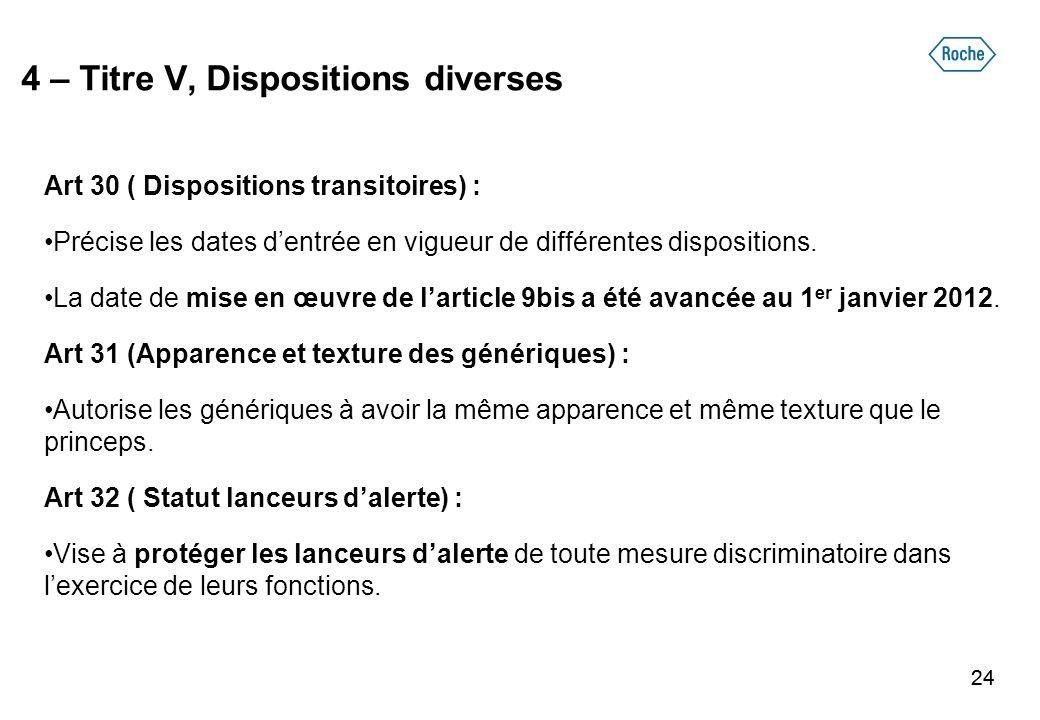 24 4 – Titre V, Dispositions diverses Art 30 ( Dispositions transitoires) : Précise les dates dentrée en vigueur de différentes dispositions. La date