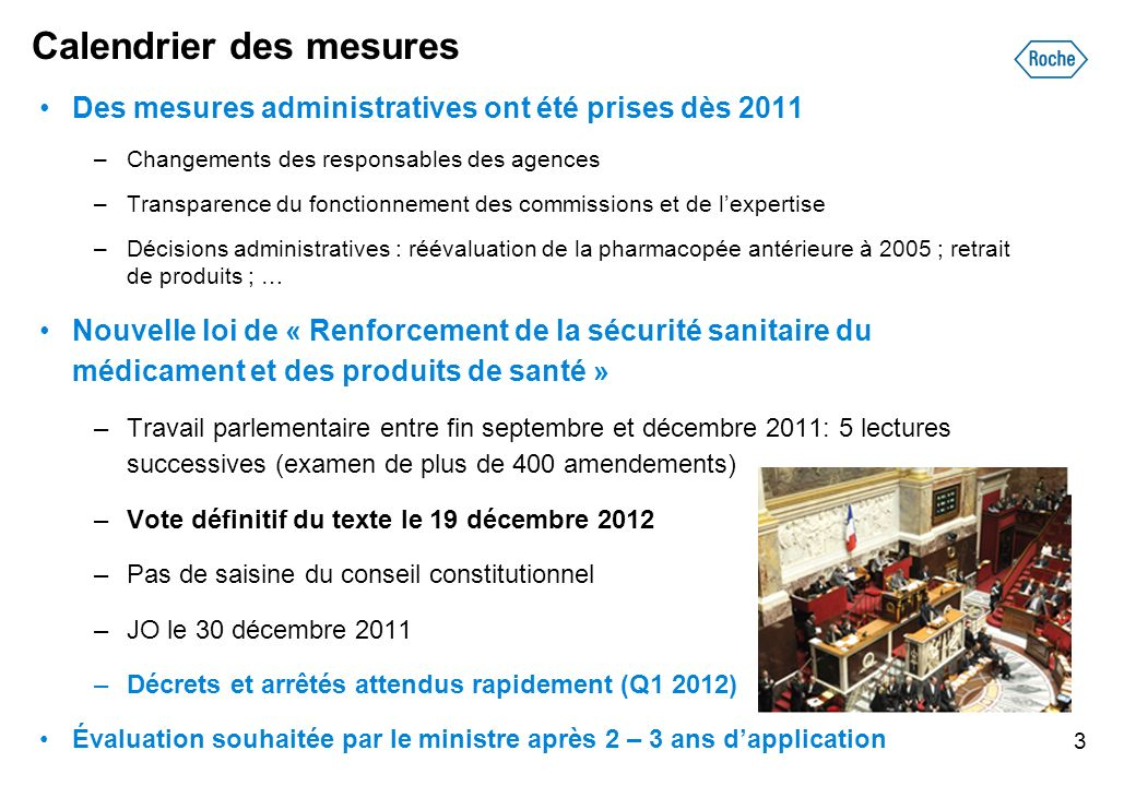 Calendrier des mesures Des mesures administratives ont été prises dès 2011 –Changements des responsables des agences –Transparence du fonctionnement d